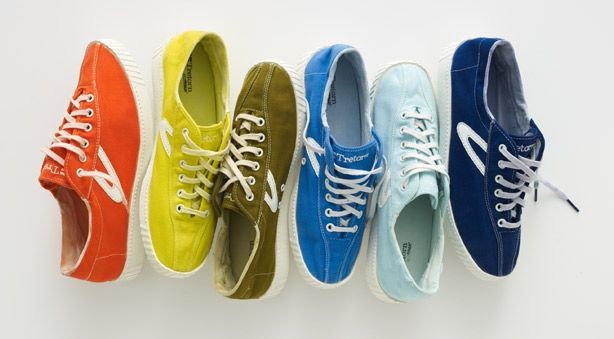 Colorful sneaker: from yellow and orange to olive green and three (count 'em: three) shades of blue.
