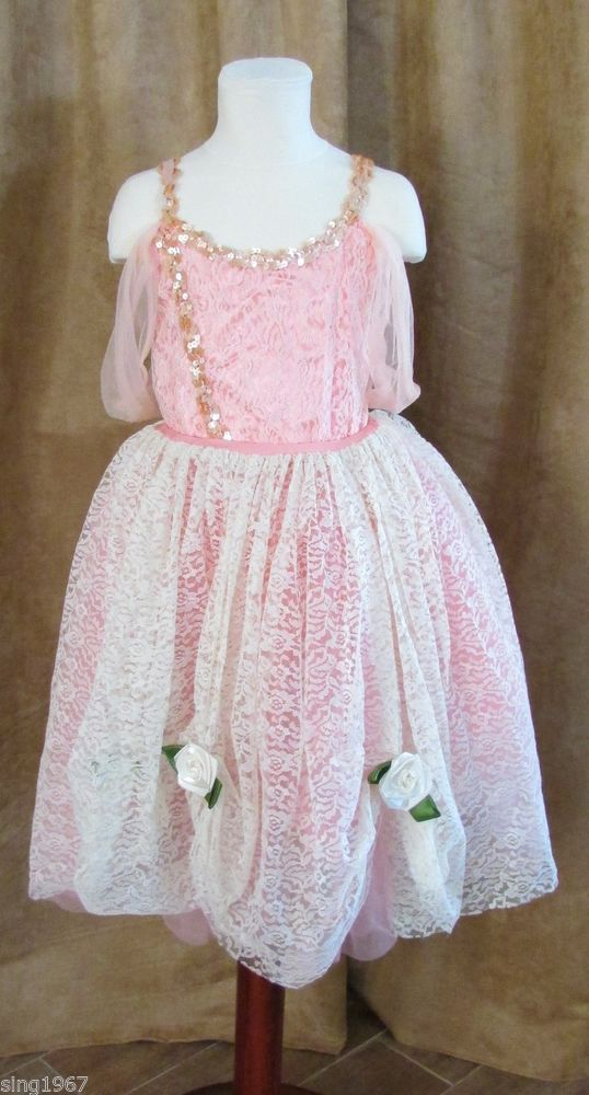 L Child Art Stone dancewear peach dress outfit dance Large lace ballet girl $32.50 free shipping