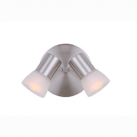 Luminaire directionnel double argent brossé avec verres blancs.