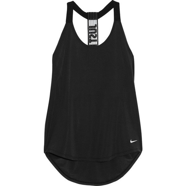 NikeElevate Stretch-jersey Tank featuring polyvore, women's fashion, clothing, activewear, activewear tops, tops, tank tops, workout, nike, shirts, black, wicking shirts, moisture wicking shirts, workout shirts and racer back shirt