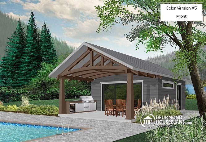 Pool house plan, modern rustic style. Outdoor and indoor kitchen. Large covered terrace for dining outdoor. Indoor sitting area that can be used as TV room or indoor dining space. Shower room with practical outdoor access. Versatile room that can be used as storage or guest bedroom, or else.