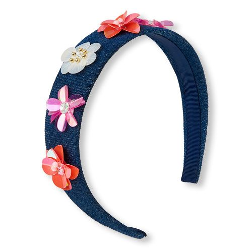 Girls 3D Sequin Flower Denim Headband - Blue - The Children's Place