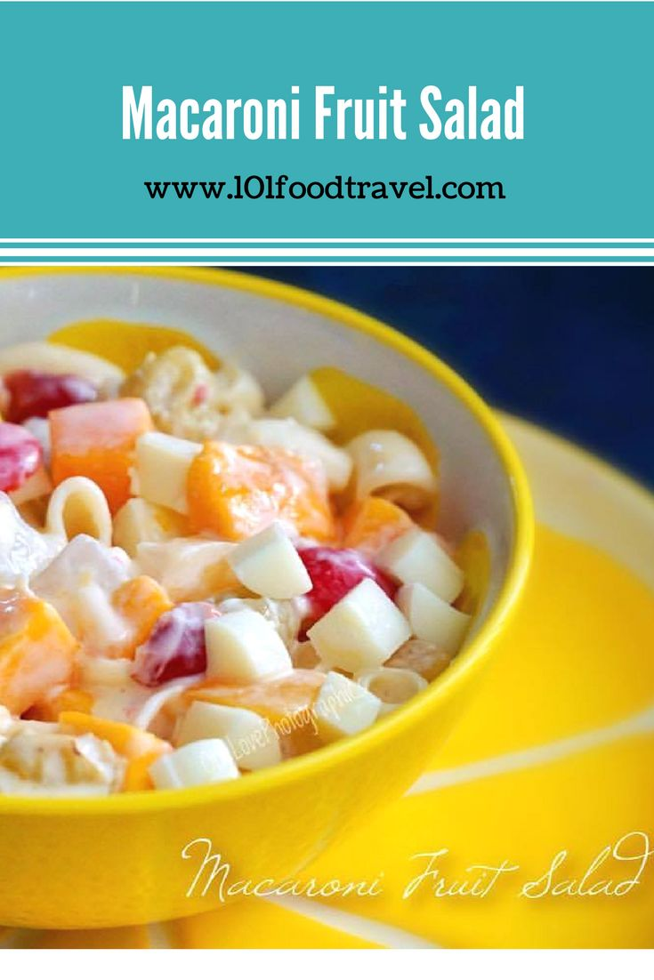 -New Recipe-  Macaroni Fruit Salad is very popular in the Philippines. It's a dessert we make all the time on every occasion.  It's sweet and full of flavor. Check out my blog for the recipe. #filipinomacaronifruitsalad #fruitsalad #macaronisalad