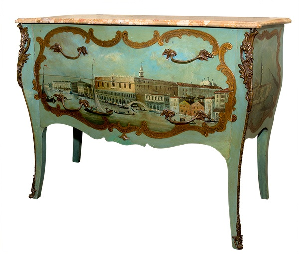 Italian Louis XV Commode Painted Venetian Scene 19th  Century