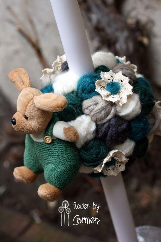 Flower by Carmen: Lumanare botez din ghemulete de lana...