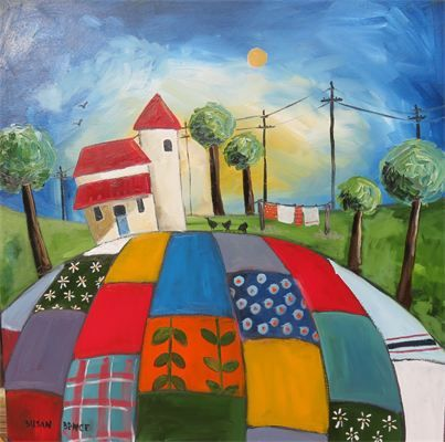 "Patchwork evening : Oil 24"" x 24"" Susan Bence SOLD"
