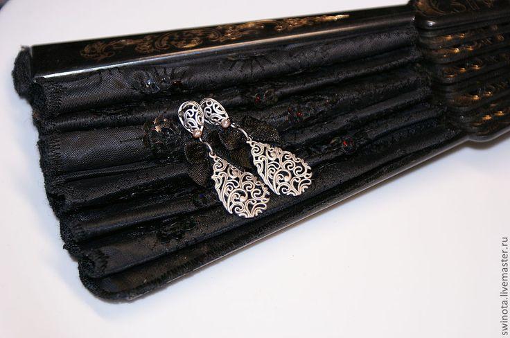 Купить Серьги Лолита - серьги с бантиками, ажурные серьги, кокетка, готическая лолита, готик, готика