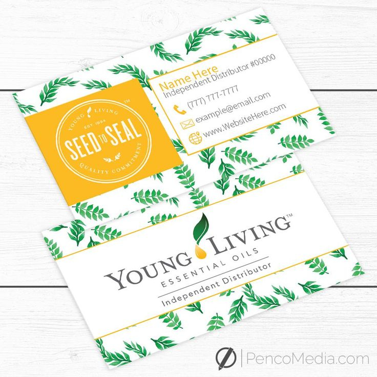 young living essential oils business cards get 20 young living