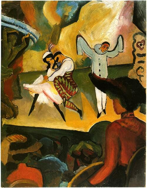 アウグスト・マッケ『ロシアンバレエⅠ』(1912) August Macke - Russisches Ballett  #表現主義 #ブリュッケ