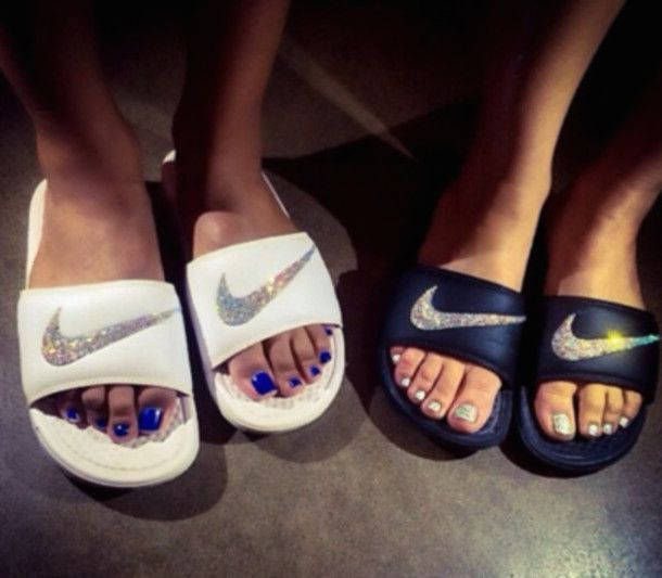 shoes nike tap shoes flat sandals flats white black strass summer shoes slide sh…