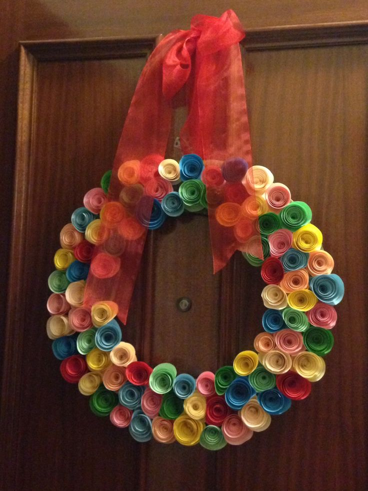 Corona de flores de papel para puerta paper flower crown - Papel para puertas ...