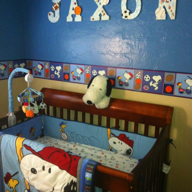 OMG! I would lOVE LOVE LOVE this since i grew up in Snoopys home town area, and skated at the rink for several years. Snoopy sports baby room. If I ever had a grandson!
