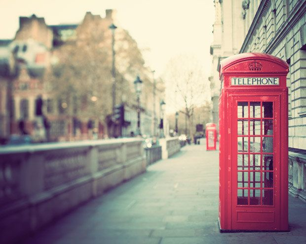 London Photography - Red Phone Box, Telephone Booth, Red, Green, City Street, Urban, Travel Photograph, Jubilee - Hanging on the Telephone