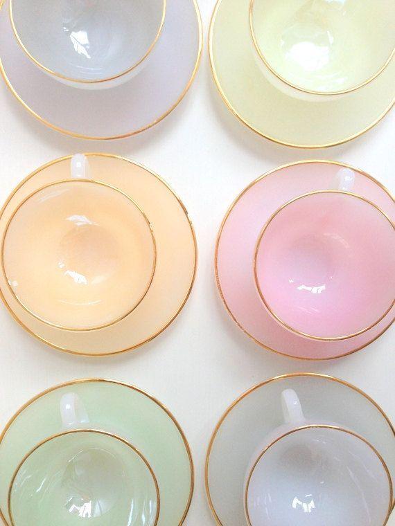 vintage set of pastel teacups