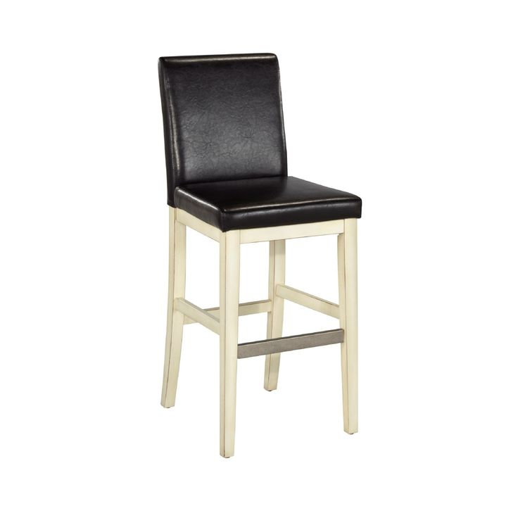 The Nantucket Bar Stool by Home Styles is constructed of hardwood solids and engineered wood in a sanded and distressed white or black finish providing an aged worn look. This stool provides the casual elegance that's great for any home décor style.