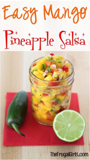 Easy Mango Pineapple Salsa Recipe   2 peeled and chopped Mangos 1/4 cup crushed Dole Pineapple (drain juice) 1/2 cup chopped Red Bell Pepper 3 tbsp chopped Red Onion 1 finely cut and seeded Jalapeno 1/2 tbsp chopped Cilantro 1 Garlic Clove, finely minced 1/4 tsp Salt 2 tbsp fresh squeezed Lime Juice  Mix all, and tadaaa you're done!!