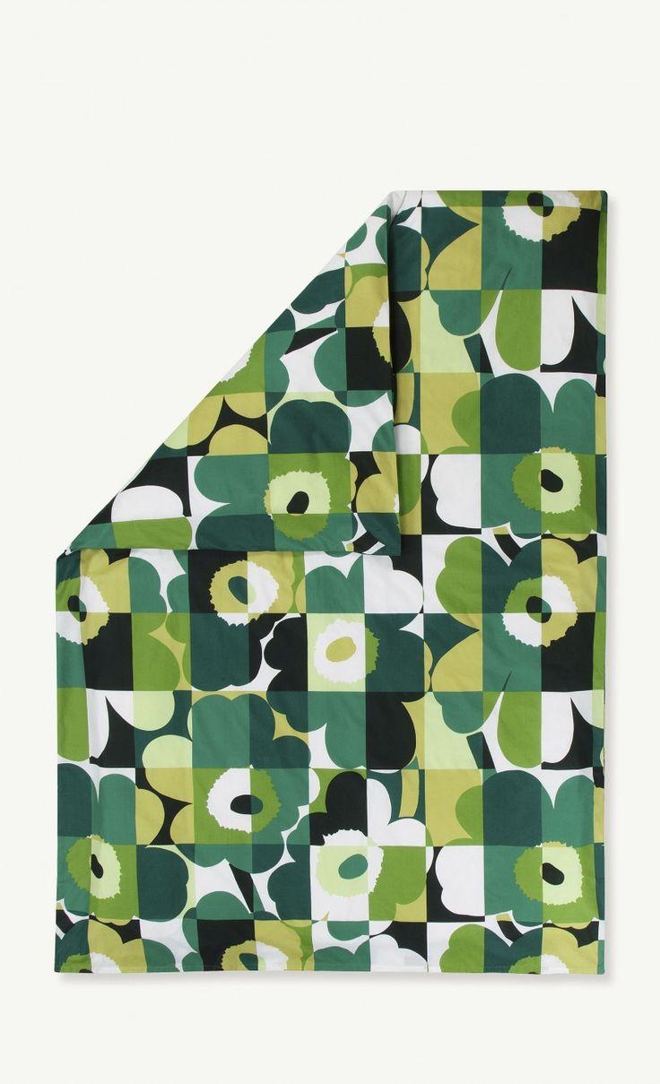 Ruutu-Unikko duvet cover 240x220 cm - dark green, green, white - Marimekko.com