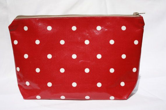 Red oilcloth wash bag /toiletry bag/make up bag by GoossensBags