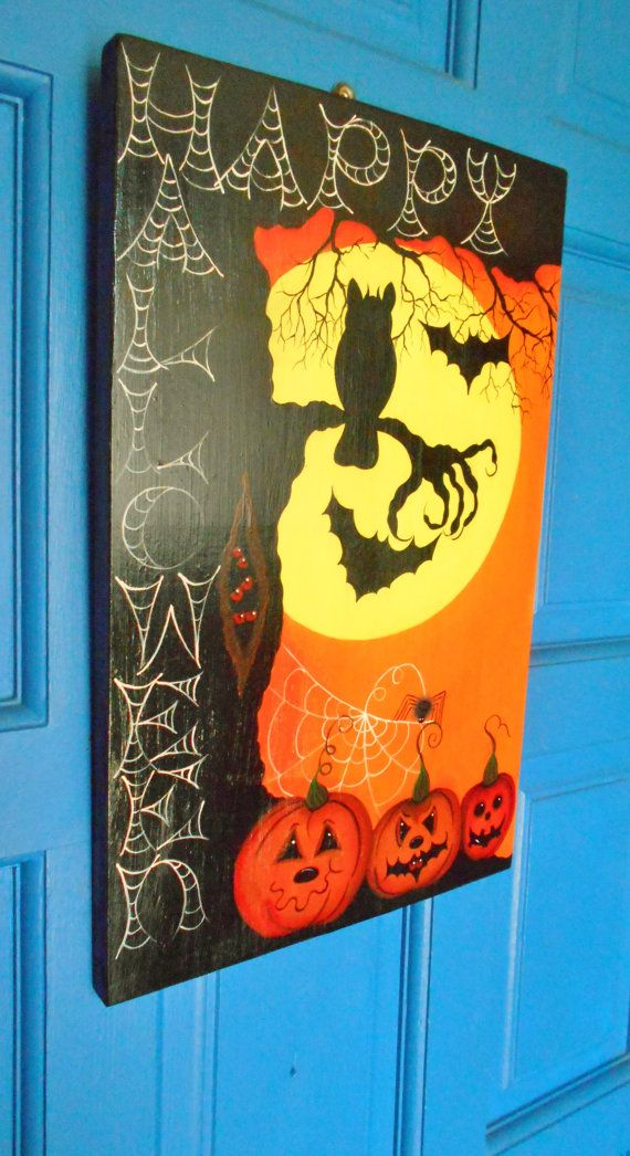 Happy Holloween Sign. Spooky Wood Plaque Hand by kathleenmelville1