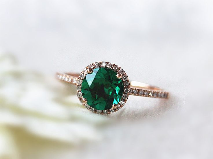 May Birthstone Ring 6.5mm Round Emerald Engagement Ring 14k Rose Gold Emerald Gold Ring Vintage Emerald ring Art Deco Emerald ring by InOurStar on Etsy https://www.etsy.com/listing/201696785/may-birthstone-ring-65mm-round-emerald