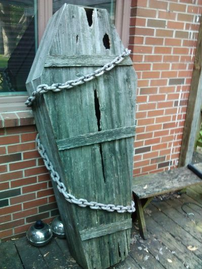 """Trash to treasure. I tore down an old privacy fence that the posts were rotted and slats were badly weathered. Instead of throwing away right away, i just leaned them against my shed(im lazy). Then my wife was wanting a coffin built, so my plan was to go buy some pine 1x and make a """"dracula"""" coffin. While i was planning  how to build i looked out into the yard and saw the old fence...and bam it hit me. I took some dimensions and count of what usable material i had. I h"""