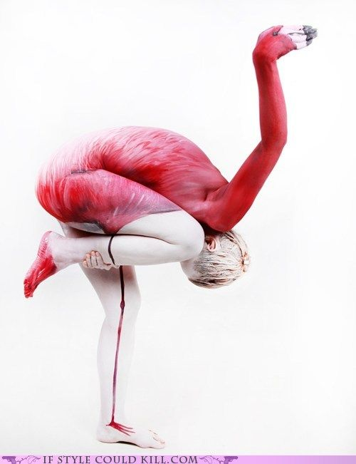 human flamingo this may not be a true yoga pose but stil very cool: Halloween Costumes, Pink Flamingos, Body Paintings, Body Art, Spoonbil, Photo, Human Body, Gesin Marwedel, Bodyart