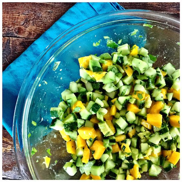 Mango Avocado Cucumber Salad Recipe by Elizabeth Rider. Get more healthy recipes at www.elizabethrider.com. #recipe #Summer #healthyliving