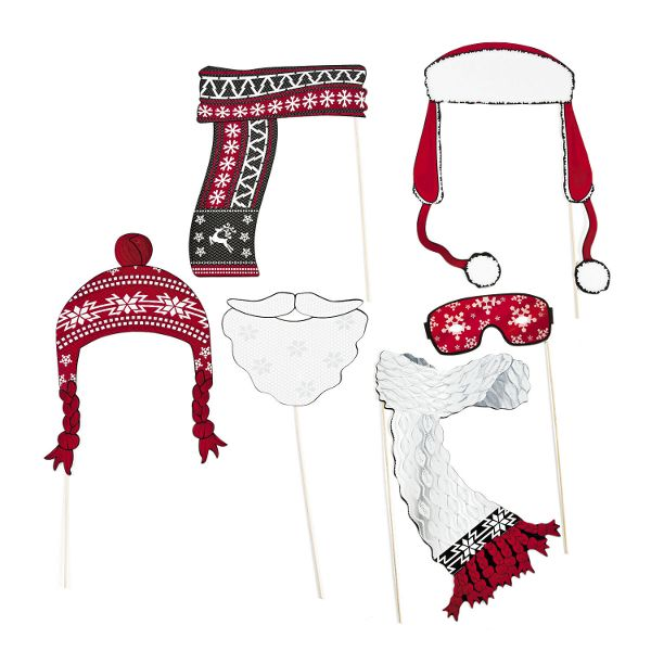 Red and White Christmas Photo Props 6pc