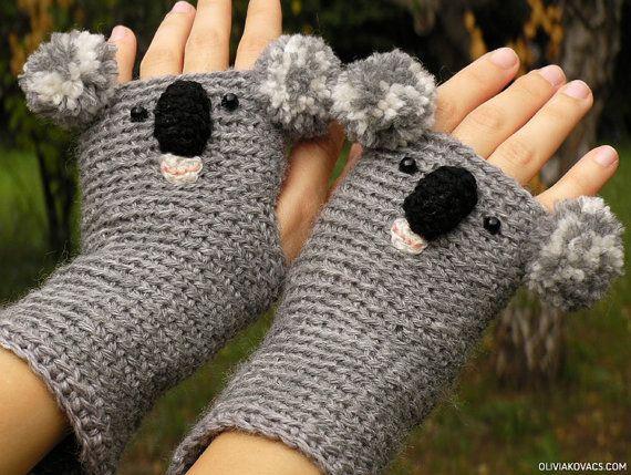 KOALA GLOVES ANIMAL Mittens Fingerless Bear Crocheted by Pomber,