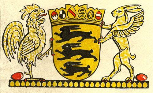 Ein Landeswappen für Baden-Württemberg: Zwei Jahre nach seiner Gründung erhielt der junge Südweststaat im Frühjahr 1954 ein Landeswappen. An der Gestaltung des Hoheitszeichens war auch der Stuttgarter Kunstmaler Immanuel Knayer beteiligt. Mit feinsinnigem Witz entwarf er eine österliche Persiflage auf das Staatssymbol. (HStAS EA 99/002 Bü41)