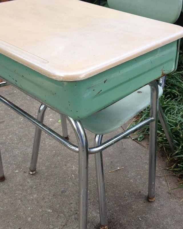 Child S Vintage Metal School Desk And Melsur Chair Baby