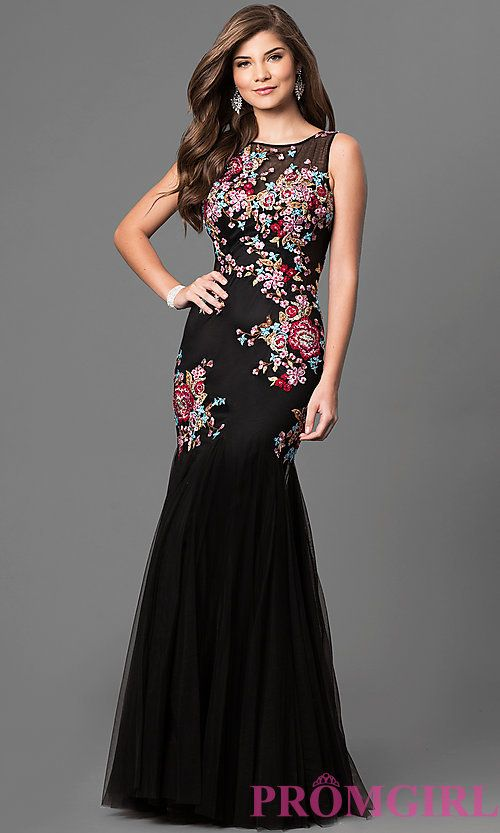 Embroidered Long Prom Dress with Trumpet Skirt