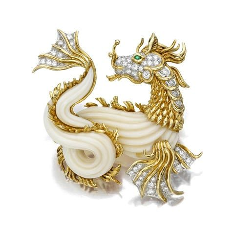 A coral, diamond and emerald sea dragon brooch, Van Cleef & Arpels - Alain R. Truong