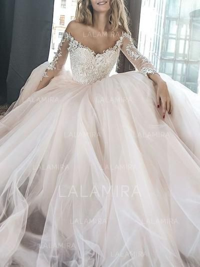 Tulle Gorgeous Wedding Dresses With A-Line/Princess Off-The-Shoulder (002218051)
