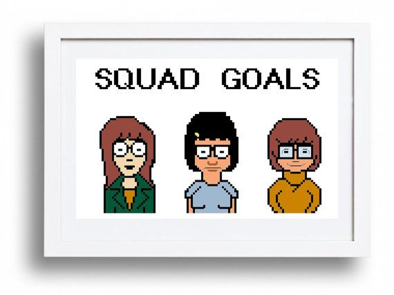 "Daria, Tina & Velma ""Squad Goals"" - Cross Stitch Pattern Instant Download"