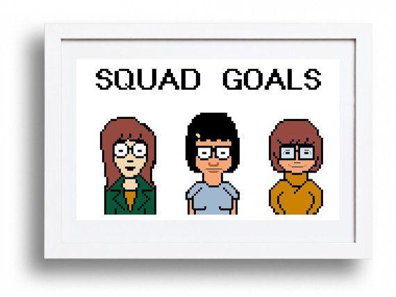 "Daria, Tina & Velma ""Squad Goals"" - Cross Stitch Pattern Instant Download"