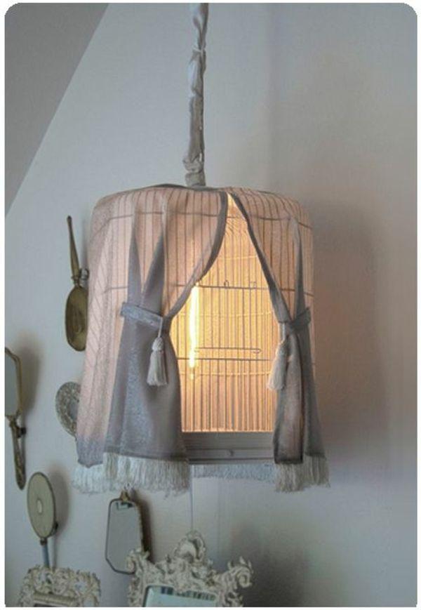 hängende lampe selber machen - aus käfig für vögel - Lampe selber machen – 30 einmalige Ideen