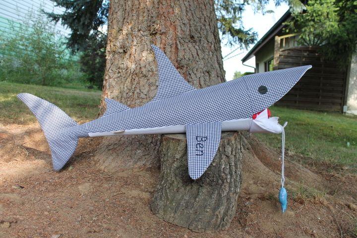 Schultüte Hai vichy dunkelblau von lisifrey auf DaWanda.com