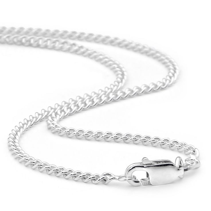 Sterling Silver Curb Round Chain | Heirloom Jewellery Design To complement our pendant range we have selected the finest sterling silver curb round chain. The chain is fitted with a parrot clasp to provide an elegant finish. The 2.1mm wide chain provides a perfectly balanced look to our Family and Large Family pendants.