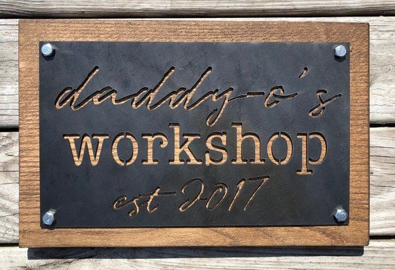 Custom Wood And Metal Sign Business Logo Or Family Name Business