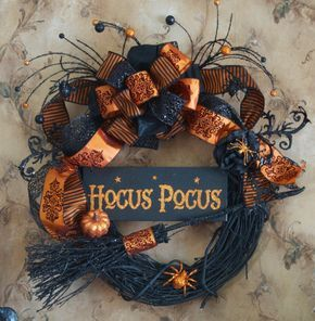 Hocus Pocus Halloween Witch Wreath, halloween wreath, Halloween Decor, Witchy, Witch wreath, Cute, Fall, black orange decoration