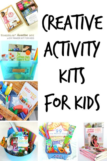 These amazing kits will provide HOURS of creative battery-free, screen-free play!  A wonderful DIY gift for any kids in your life -- gift kit ideas for babies through elementary school age children.