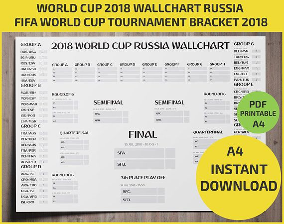image relating to World Cup Printable Schedule called Wallchart FIFA 2018 Planet Cup Russia PDF / Printable