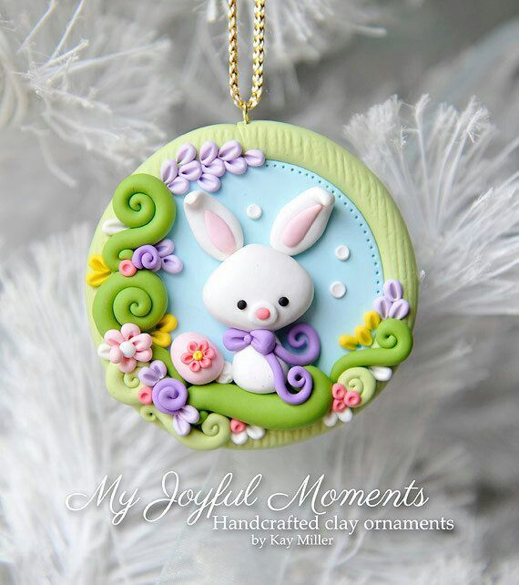 Handcrafted Polymer Clay Easter Bunny Scene Ornament