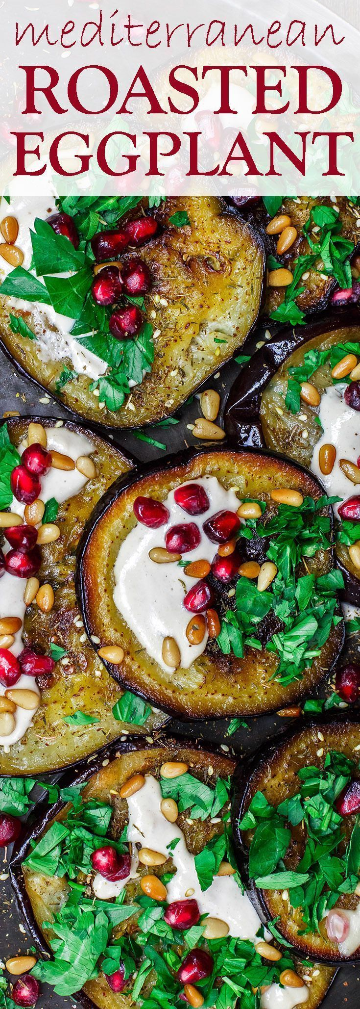 Mediterranean Roasted Eggplant Recipe | The Mediterranean Dish. An easy roasted eggplant recipe, prepared Mediterranean-style with pomegranates, tahini and fresh parsley. Great as an appetizer, salad, or side dish! See it on TheMediterraneanD...