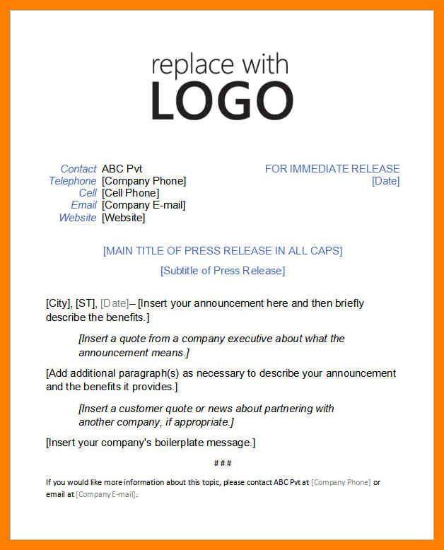 Image Result For Press Kit Template Doc Press Release Template Press Release Example Press Release