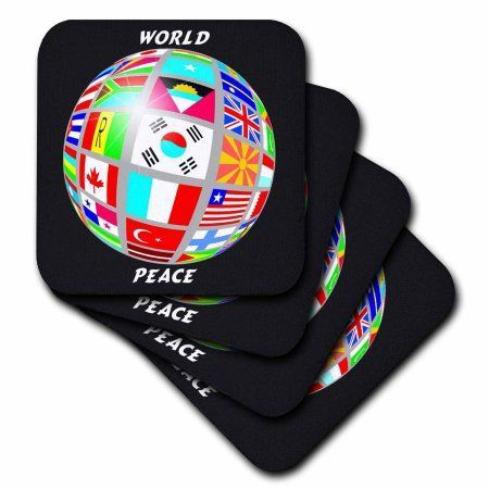 3dRose World Peace Globe With All Countrys Flags, Ceramic Tile Coasters, set of 4