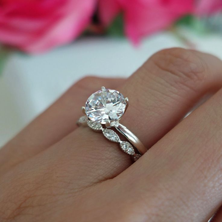 2 ct Art Deco Ring, Round Solitaire Bridal Set, Man Made Diamond Simulants, Engagement Ring, Promise Ring, Wedding Ring, Sterling Silver