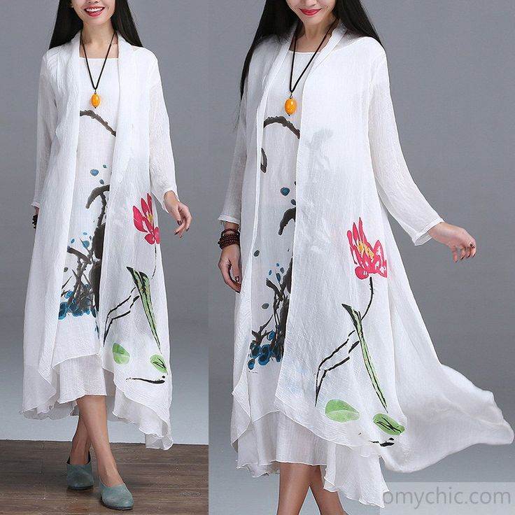 White summer hand painted linen cardigan summer maxi coat retro cotton outwear