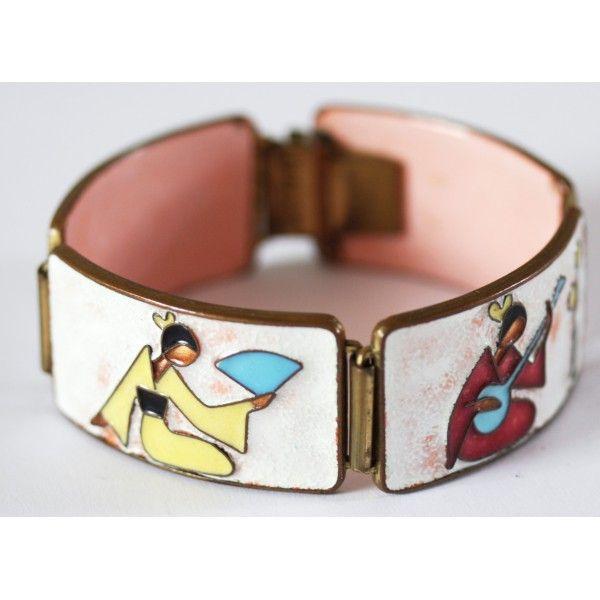 Wonderful scarce GEISHA enamel bracelet by Bunge, Germany - for sale on www.allmodern.de